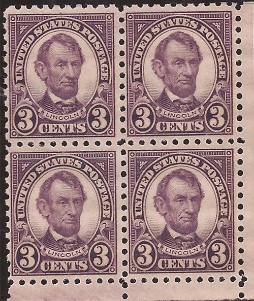 US Stamp - 1925 3c Lincoln - Perf 10 Block of 4 MNH Stamps #584