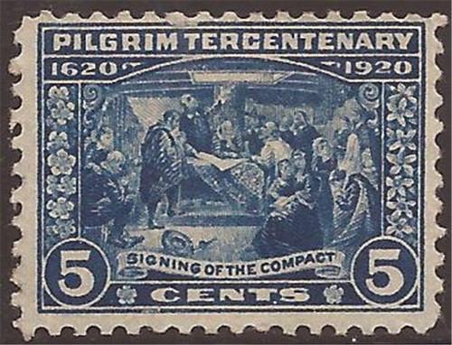 US Stamp - 1920 5c Pilgrim Tercentenary - F/VF MH OG - Scott #550