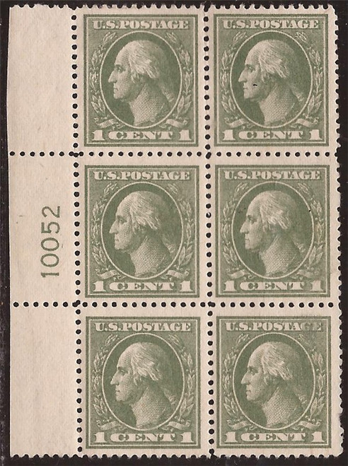 US Stamp - 1919 1c Washington Perf 12 ½ PB of 6 Stamps MH (top 1) #536
