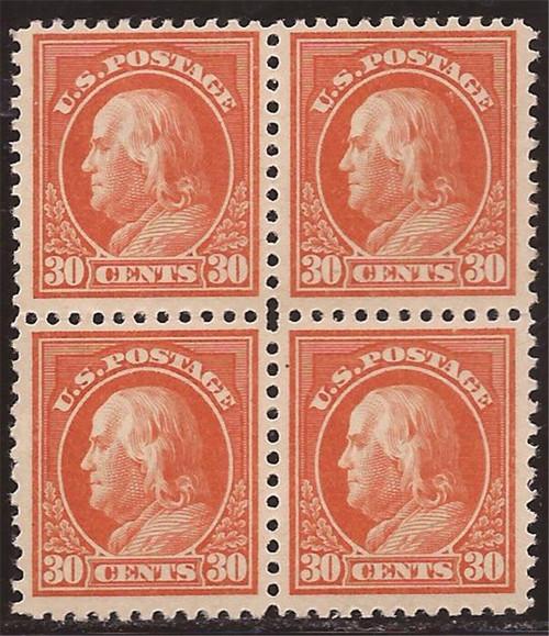 US Stamp - 1918 30c Franklin - Perf 11 Block of 4 MNH - Scott #516