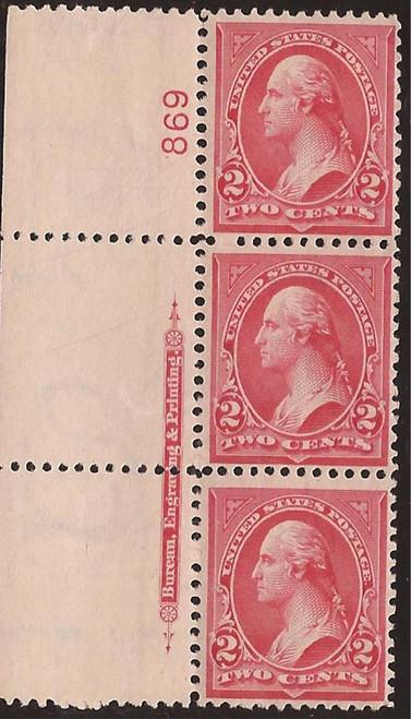 US Stamp - 1899 2c Washington Red Type IV 3 Stamp PS w/Imprint #279B