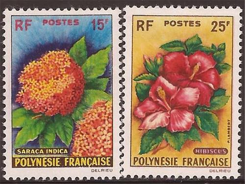 French Polynesia - 1962 Flowering Plants - 2 Stamp Set -   #196-7
