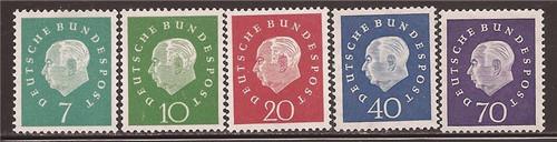 Withdrew 02-25-19-Germany - 1959 Pres. Heuss - 5 Stamp Set -   - Scott #793-7