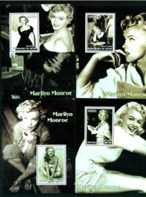 2002 Marilyn Monroe on Stamps - Set of 4 Souvenir Sheets 2B-270