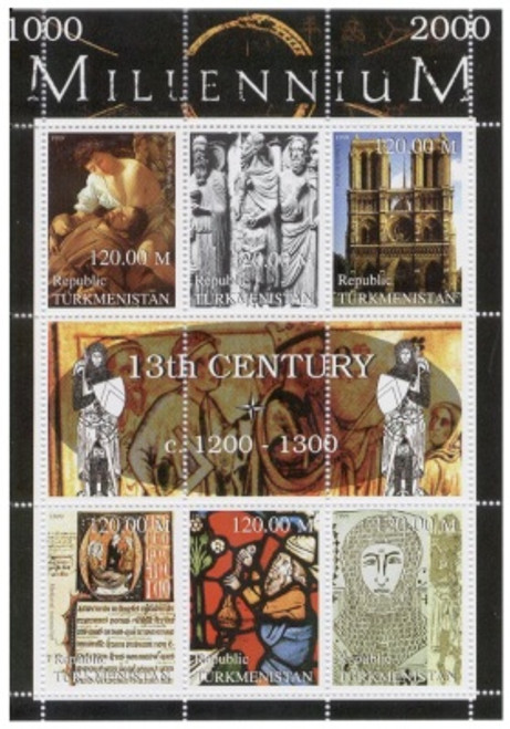 13th Century Highlights on Stamps - 6 Stamp Mint Sheet TK-M13