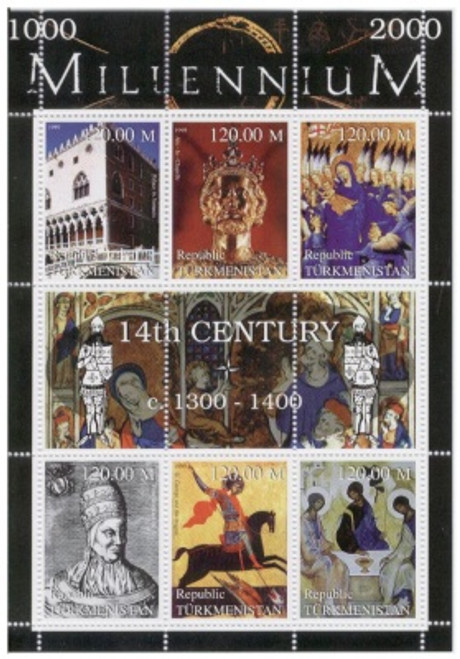 14th Century Highlights on Stamps - 6 Stamp Mint Sheet TK-M14