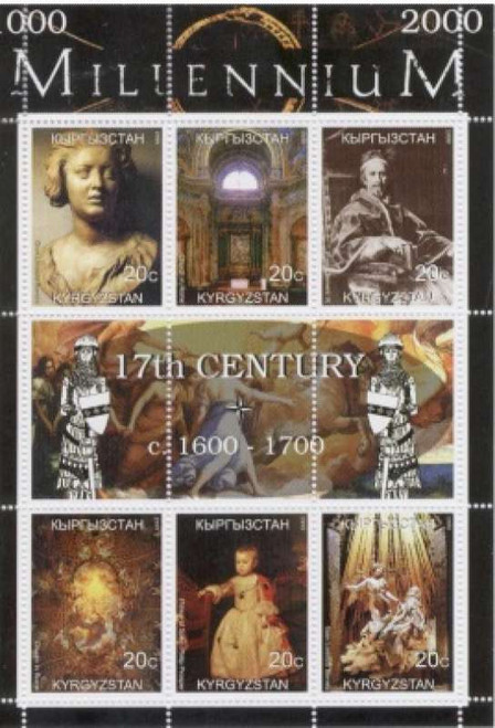 17th Century On Stamps - 6 Stamp Sheet Bernini, Pope Clement IX  K-M17