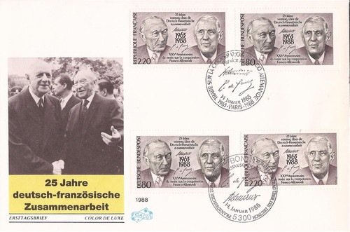 France-Germany-1988 Franco-German Treaty Joint Iss. Cover #2086 & 1546