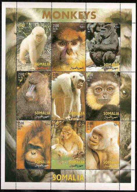 2002 Monkeys on Stamps - 9 Stamp Mint Sheet 223115