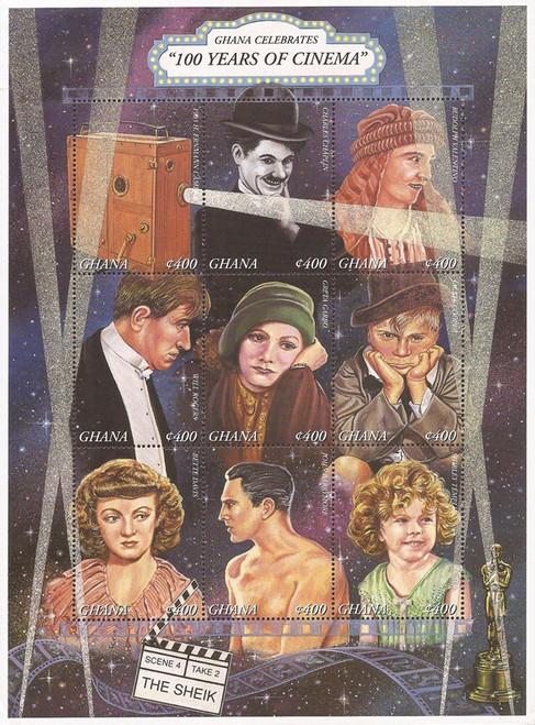 Ghana - 1995 Motion Pictures Centenary - 9 Stamp Sheet - Scott #1849