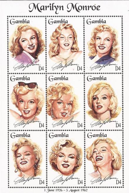 Gambia - 1995 Actress Marilyn Monroe - 9 Stamp Sheet - Scott #1601