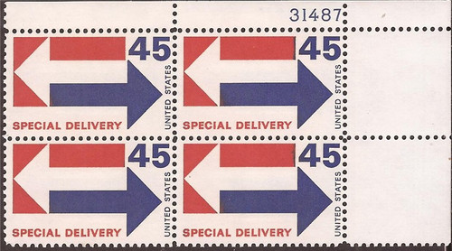 US Stamp - 1969 45c Special Delivery - 4 Stamp Plate Block Scott #E22