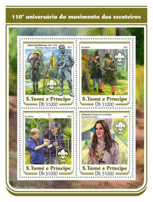 St Thomas - 2017 Scouts Anniversary - 4 Stamp Sheet - ST17108a