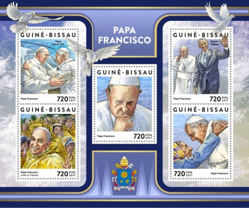 Guinea-Bissau - 2017 Pope Francis - 5 Stamp Sheet - GB17305a