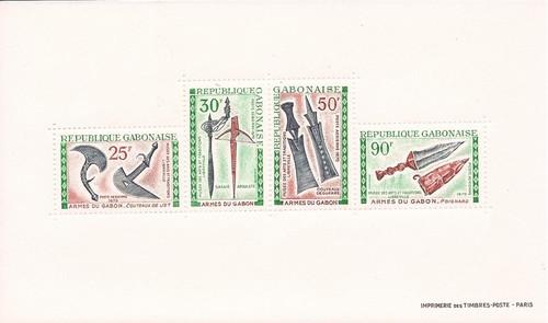 Gabon - 1970 Gabonese Weapons - 4 Stamp Sheet - Scott #C99