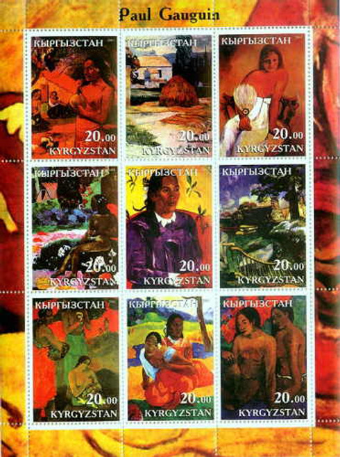Gauguin Paintings On Stamps - 9 Stamp Mint Sheet 11A-005