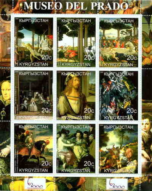 Prado Museum Paintings On Stamps - 9 Stamp Mint Sheet 11A-008
