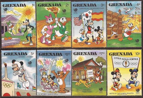 Grenada - 1988 Disney Characters at Olympics - 8 Stamp Set #1582-9