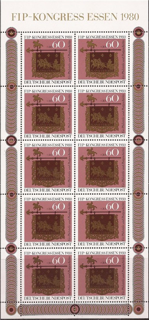 Withdrew 02-28-19-Germany - 1980 FIP Congress - 10 Stamp Sheet -   - Scott #B581