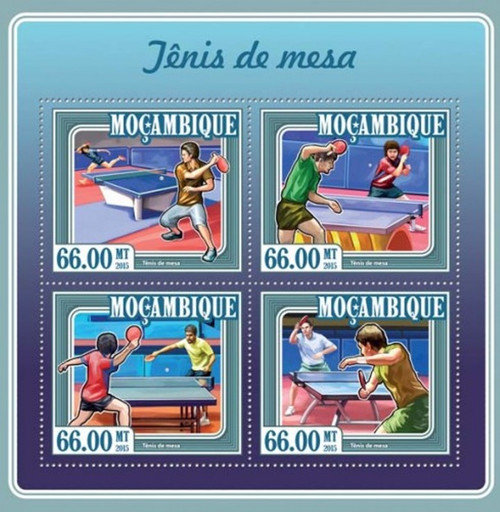 Mozambique - 2015 Table Tennis - 4 Stamp Sheet - 13A-1603