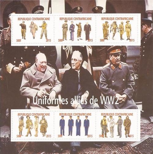 2015 World War II Uniforms - 6 Stamp Sheet - 3H-985
