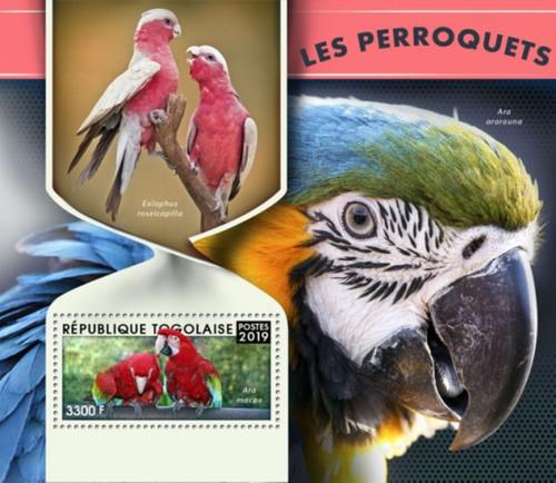 Togo - 2019 Parrots on Stamps - Stamp Souvenir Sheet - TG190110b