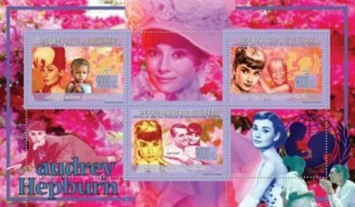 Guinea 2009 Audrey Hepburn on Stamps 3 Stamp Sheet Michel #6702-4 7B-1053