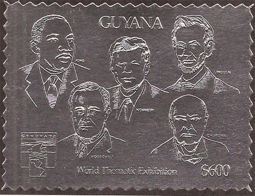 Guyana - 1992 Special Silver Stamp-Lincoln, Kennedy, King, FDR-7C-016