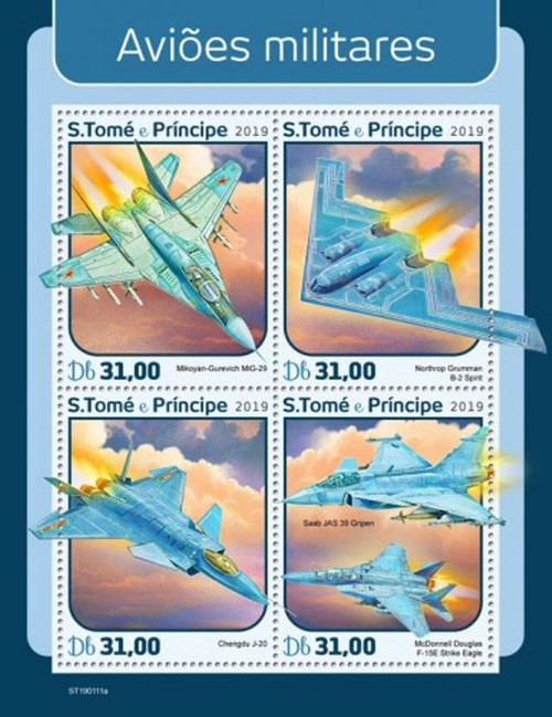 St Thomas - 2019 Military Planes - 4 Stamp Sheet - ST190111a