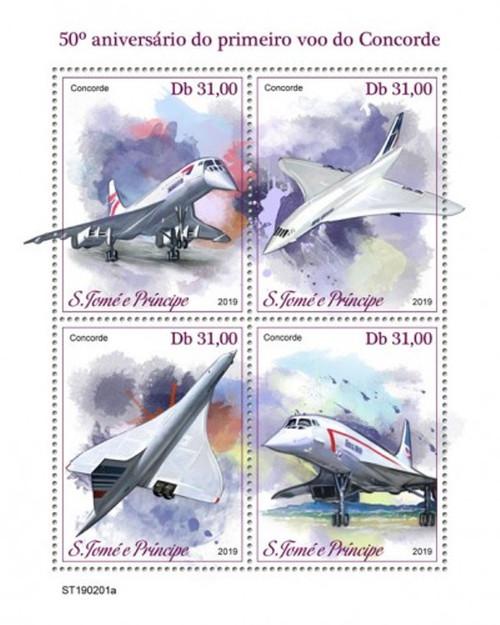 St Thomas - 2019 Concorde Plane - 4 Stamp Sheet - ST190201a