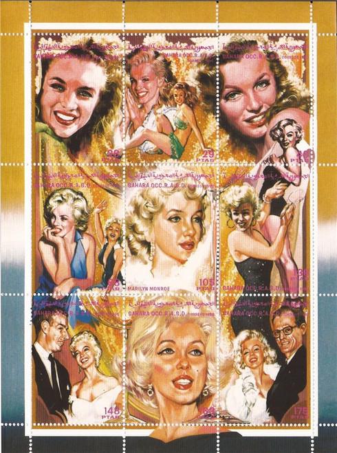 1998 Marilyn Monroe, DiMaggio, Miller - 9 Stamp  Sheet - 23A-014