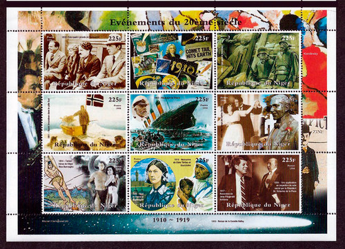 1998 Events of the 1910's Chaplin Titanic WWI  9 Stamp Sheet 14A-497
