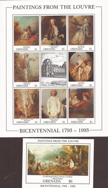 Withdrew 03-07-19-Grenada - 1993 Louvre Museum Art - 8 Stamp Sheet + S/S - 7J-016