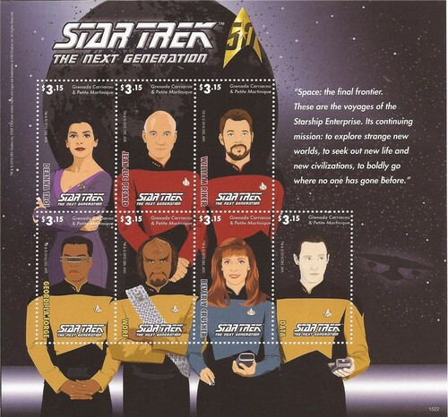 Grenada - 2015 Star Trek 50th Anniversary - 7 Stamp Sheet - 7J-022