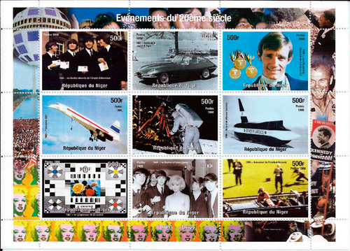 1998 Events of the 1960s Beatles JFK Color TV 9 Stamp Sheet 14A-496
