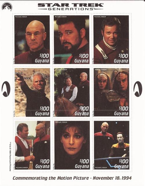 Guyana 1994 Star Trek Generations 9 Stamp Sheet Scott #2904 7C-026