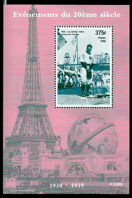 1998 Twentieth Century Lou Gehrig  Stamp Souvenir Sheet 14A-500