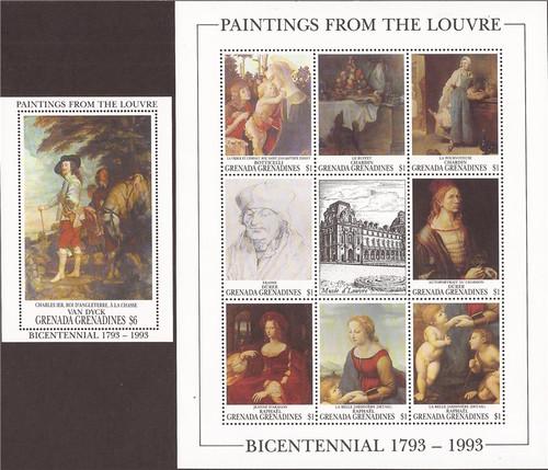 Withdrew 02-28-19-Grenada Grenadines 1993 - Louvre Art - 8 Stamp Sheet + S/S - 7J-018