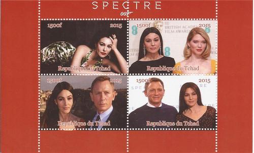 2015 James Bond Movie Spectre - 4 Stamp Sheet - 3B-433
