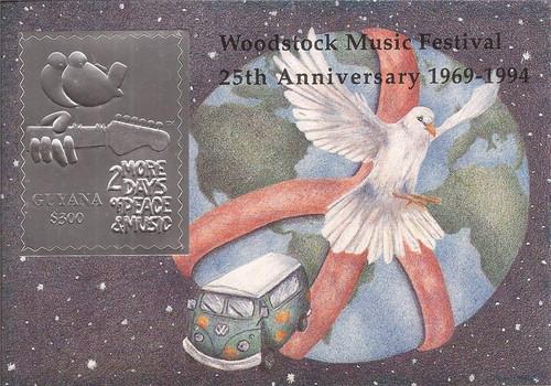Guyana - 1994 Woodstock Anniversary - Silver Foil Stamp S/S - 7C-028