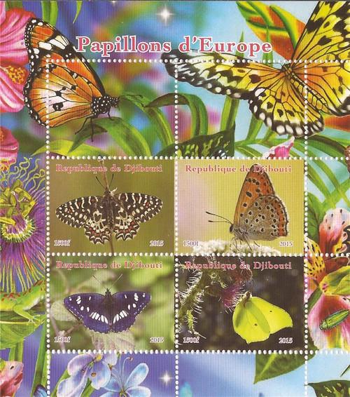 Djibouti - 2015 Butterflies of Europe - 4 Stamp Sheet -  - 4B-131