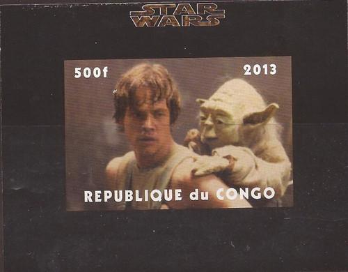 Congo - Star Wars Luke and Yoda - Imperf Stamp Souvenir Sheet - 3A-478