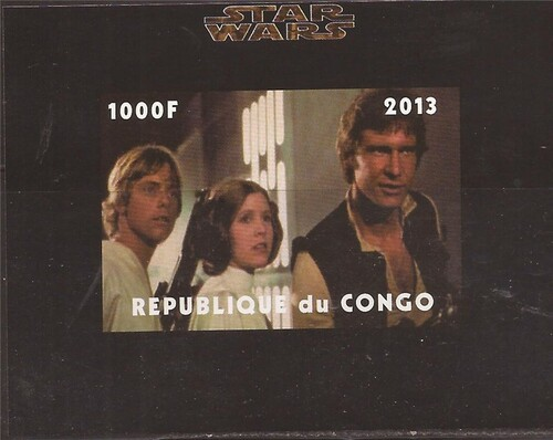 Withdrew 03-15-19-Congo - Star Wars Luke, Leia, Han Solo - Imperf Souvenir Sheet - 3A-482