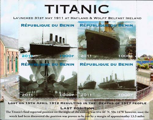 Benin 2011 Launch of Titanic Anniversary 4 Stamp Sheet  2B-205