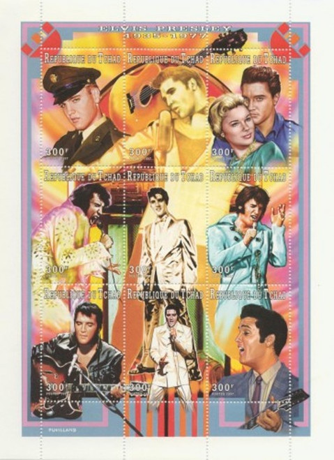 Withdrew 02/17/19-Chad - 1996 Elvis Presley - 9 Stamp Sheet - 3B-327