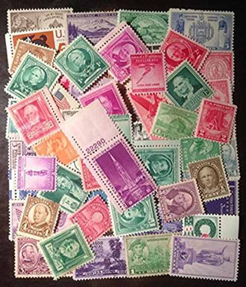 50 Very Old Mint U.S. Stamp Collection from 1930s and 1940s