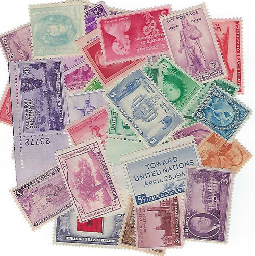 40 U.S. Mint Postage Stamps from The 1910's, 1920's, 1930's and 1940's