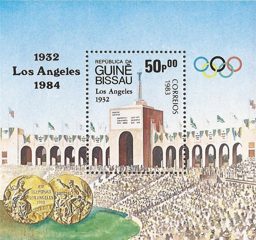 Guinea-Bissau - 1983 Los Angeles Olympic Stadium - Souvenir Sheet #496