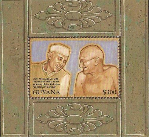 Guyana - 1998 Mahatma Gandhi - Stamp Souvenir Sheet - Scott #3342