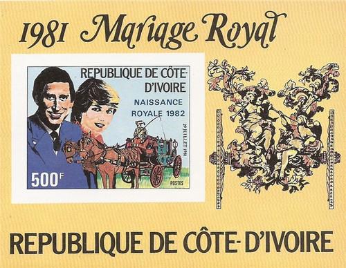Ivory Coast - 1982 Royal Wedding Charles & Diana - Imperf S/S #645
